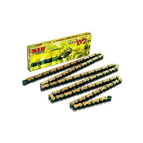 Chaine de transmission DID 520 VX2 X-RING Or / Noir et attache type semi-pressée