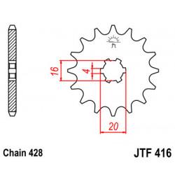 Pignon JT acier type 416 pas 428 14 dents SUZUKI RM-85 grandes roues 2002-18
