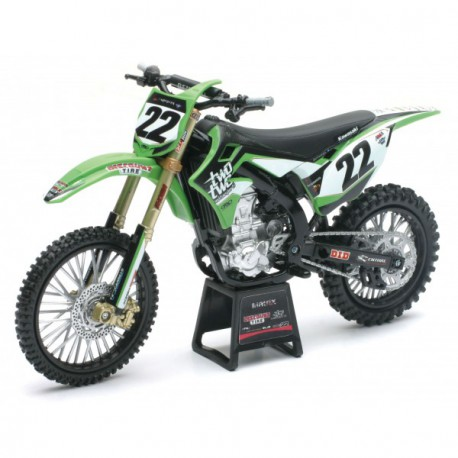 MAQUETTE MOTO CROSS KAWASAKI KX450F RCH RACING Team Chad REED 1/12° NEWRAY
